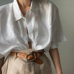 Vintage Oversized Linen Button Up